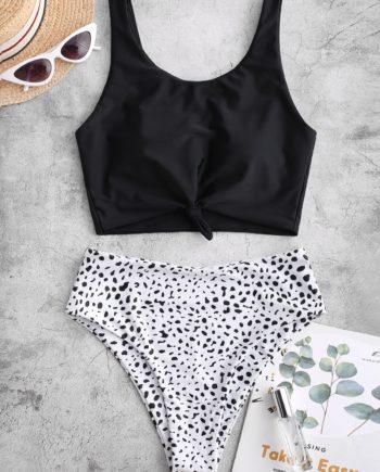 ZAFUL Verknoteter Tankini-Badeanzug mit Dalmatinischem Muster