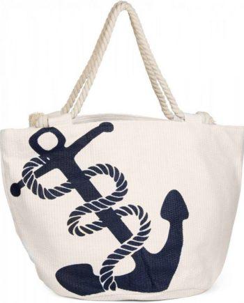 styleBREAKER Strandtasche, Strandtasche in Flechtoptik mit Anker Print