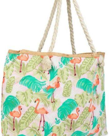 styleBREAKER Strandtasche, Strandtasche mit Flamingos und Palmen