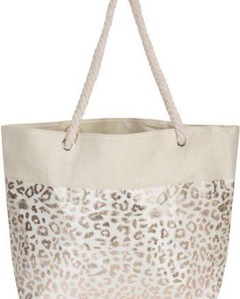styleBREAKER Strandtasche, Strandtasche mit metallic Leoparden Print