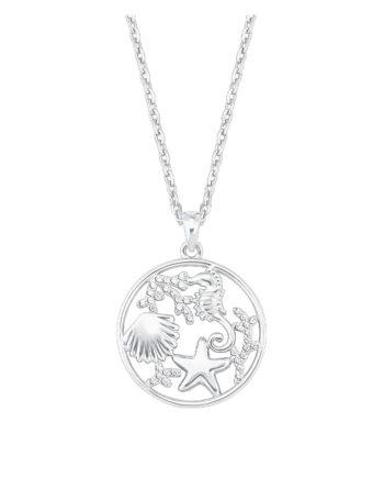 AMOR Kette mit Anhänger für Damen, Silber 925, Muschel Seepferd Seestern Halsketten silber Damen Gr. 47,0