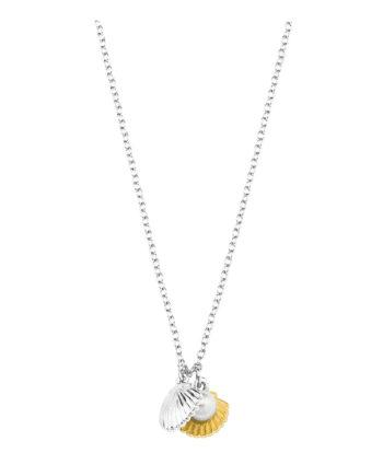 AMOR Kette mit Anhänger für Damen, Silber 925 bicolor, Muschelkernperle Halsketten gold/silber Damen Gr. 42,0