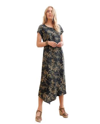ANNA AURA Leinenkleid Kleid aus 100% Leinen Sommerkleider schwarz Damen Gr. 52