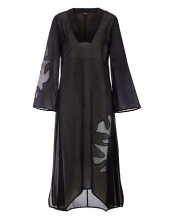 Alba Moda Kaftan langarm Webware leicht transparent Sommerkleider schwarz Damen Gr. 42