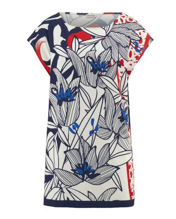 Alba Moda Shirt ohne arm Single Jersey Sommerkleider blau/rot Damen Gr. 36