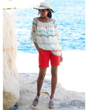 Alba Moda Strandhose Reißverschluss Webware Sommerkleider rot Damen Gr. 44