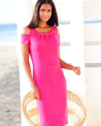 Alba Moda Strandkleid mit glitzernden Zierkugeln