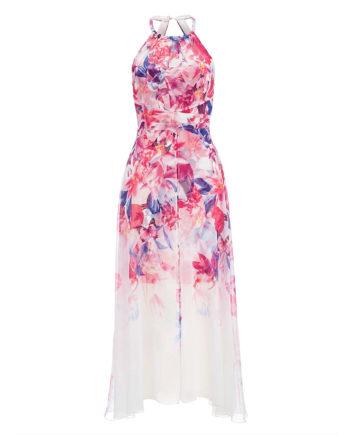 Alba Moda Strandkleid ohne arm Reißverschluss Webware leicht transparent Sommerkleider pink Damen Gr. 40