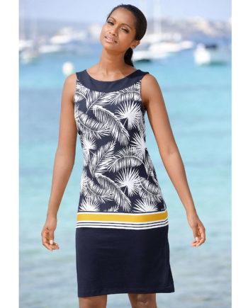 Alba Moda Strandkleid ohne arm Single Jersey Sommerkleider blau/gelb Damen Gr. 38