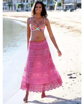 Alba Moda Strandrock Webware Sommerkleider pink Damen Gr. 44