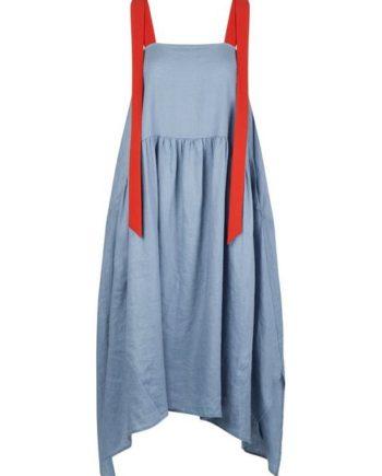 Apart Sommerkleid mit langen, breiten, orange-farbenen Trägern
