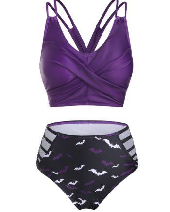Bat Print Lace-up Crossover Bikini Swimwear