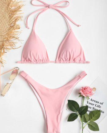 Cheeky Halter Hohe Schlitz Bikini Set