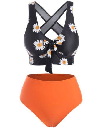 Crisscross Side Boning Daisy Print Tankini Swimwear