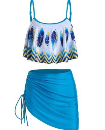 Feather Zigzag Print Asymmetrical Tankini Swimwear