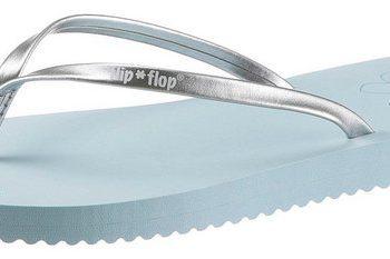 Flip Flop Zehentrenner mit Metallic-Riemchen