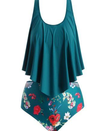 Floral Cutout Flounce Plus Size Tankini Set