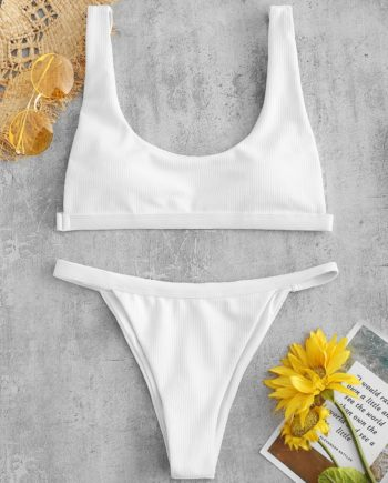 Gepolstertes Bikini-Set mit Hohem Bein