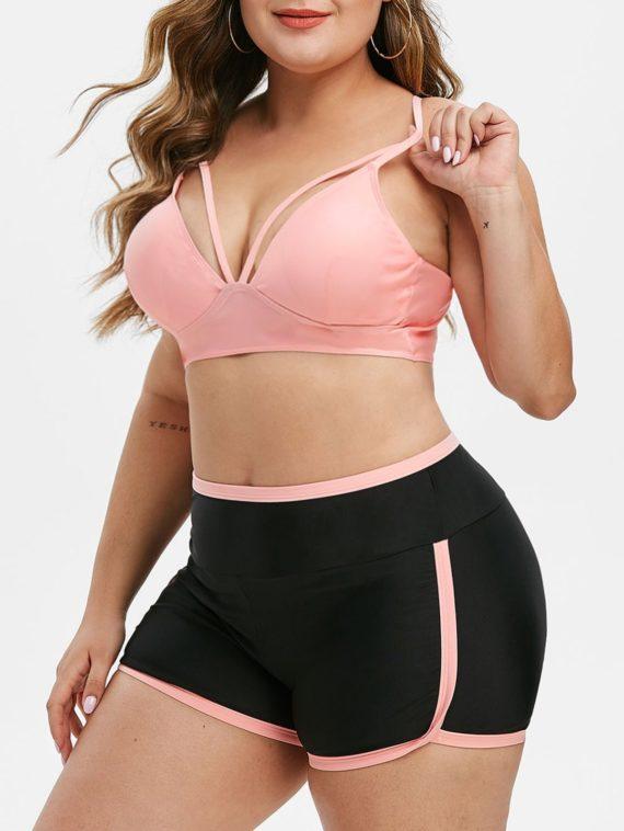Harness Strappy Contrast Binding Plus Size Bikini Swimsuit