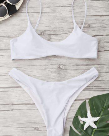 Hohe Schlitz Scoop Tanga Bikini Set