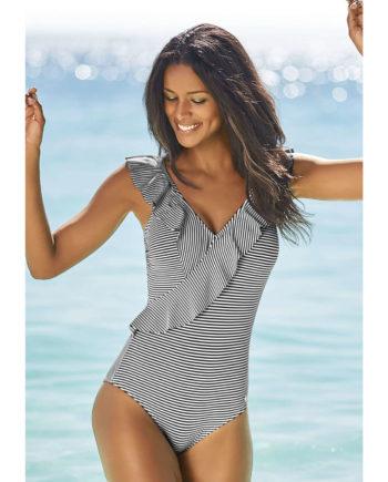 LASCANA Badeanzug Badeanzüge schwarz/weiß Damen Gr. 36D