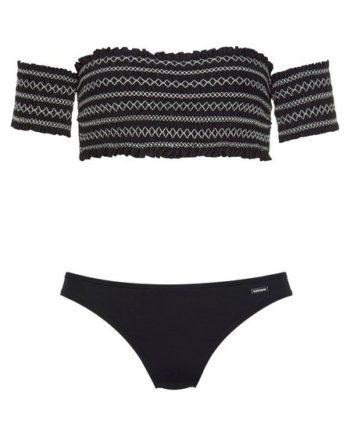 LASCANA Bandeau-Bikini Mit smoke Effekten und Stickerei