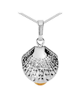 OSTSEE-SCHMUCK Kette mit Anhänger Muschel Silber 925/000 Bernstein Halsketten silber Damen Gr. 45,0