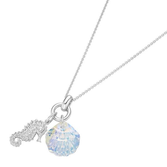 SMART JEWEL® Smart Jewel Kette Seepferd und Swarovski Stein in Muschel-Form Halsketten mehrfarbig Damen Gr. 45,0