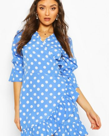 Womens Gewebtes Sommerkleid Mit Seitlicher Schnürung Und Tupfenmuster - Kobaltblau - 40, Kobaltblau