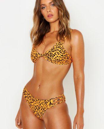 Womens Petite Bikini Mit Leopardenmusten Und Trägerknoten - Orange - 30, Orange