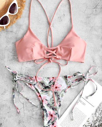 ZAFUL Bikini Badeanzug mit Schnüren und Blumenmuster