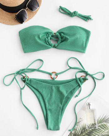 ZAFUL Gerippter O Ring Bikini Badebekleidung mit Schnürung