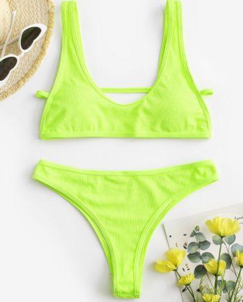 ZAFUL Neon Gerippte Hochgeschnittene Bikini Badebekleidung