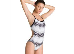 arena Multicolor Stripes Challenge Back Badeanzug Bekleidung Damen weiß