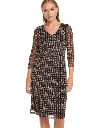 comma, Print-Kleid mit Raffung Sommerkleider schwarz Damen Gr. 38