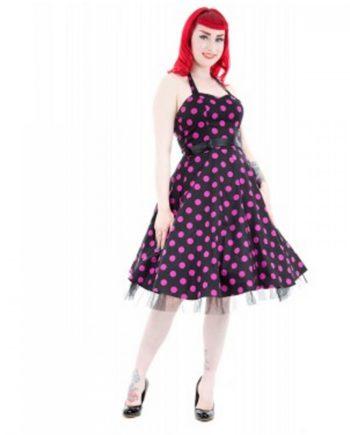 0211-Black Purple Dot Long Dress Sommerkleid Kleid Spitzenkleid Retro Rockabilly 60er