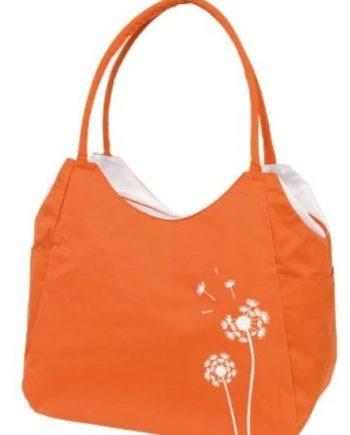 1 Shopper Strandtasche mit Reißverschluss orange Blumendesign Synthetik
