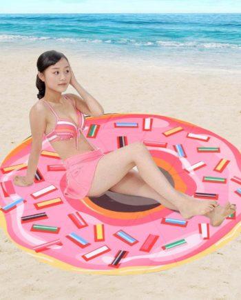 150 cm Microfiber Runde Strandtuch Rosa Donut Großen Badetuch Quaste Dusche Handtuch Reise Strand T