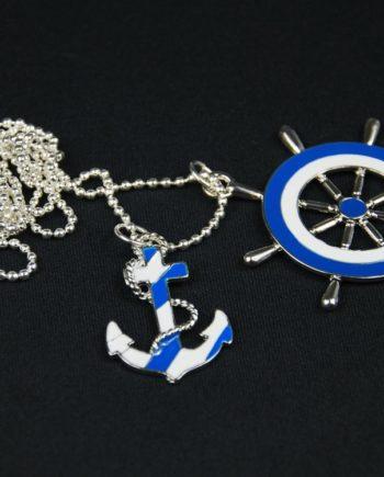 2er Anker Rettungsring Kette Halskette Miniblings 80cm Maritim blau weiß Emaille