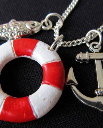 3er Set Maritim Kette Halskette Miniblings 80cm Anker Rettungsring Fisch rot