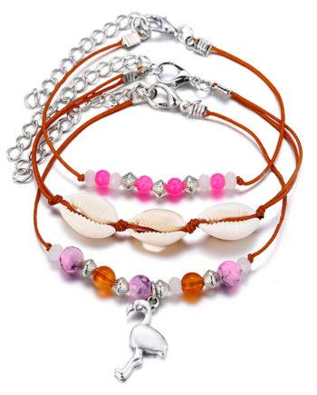 3er Set Muschel Perle Flamingo Fußkettchen Fußkette Miniblings Sommer Strand Braun