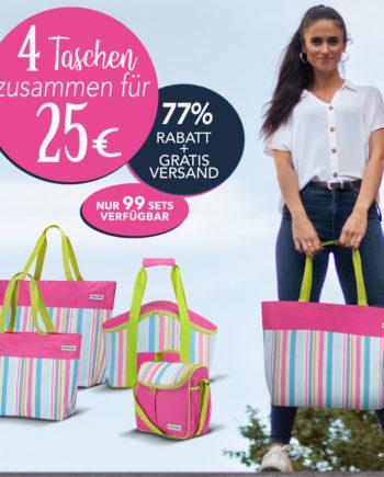 4er Set: Shopper + Kühltasche + Strandtasche + Vespertasche - pink limette