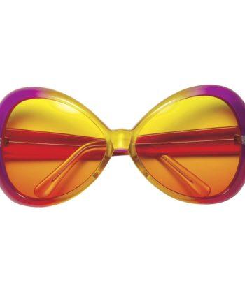 70er Jahre Sugar Babe Hippie Sonnenbrille für Damen Pink/Gelb