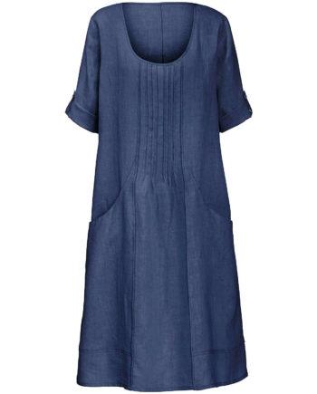 ANNA AURA Leinenkleid mit 3/4-Arm Sommerkleider indigo Damen Gr. 52
