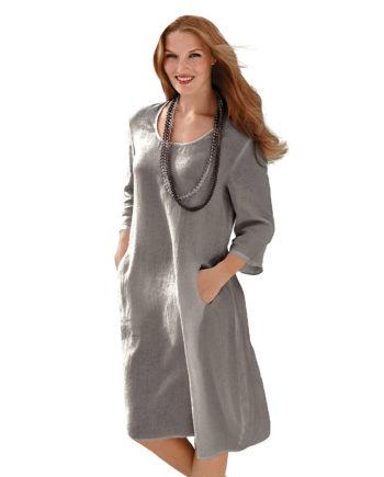 ANNA AURA Leinenkleid mit 3/4-Arm Sommerkleider taupe Damen Gr. 52