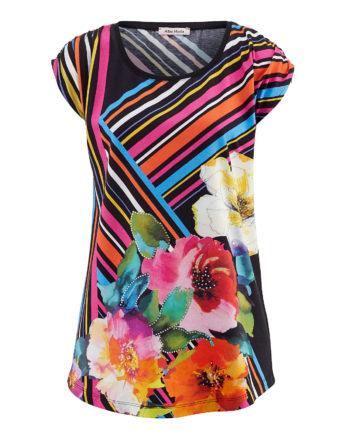 Alba Moda Shirt ohne arm Single Jersey Sommerkleider bunt Damen Gr. 38