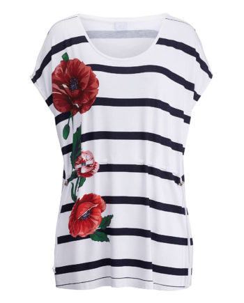 Alba Moda Shirt ohne arm Single Jersey Sommerkleider weiß-kombi Damen Gr. 44