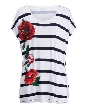 Alba Moda Shirt ohne arm Single Jersey Sommerkleider weiß-kombi Damen Gr. 46