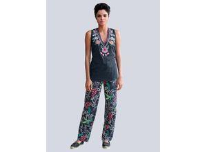 Alba Moda Strandhose mit Blättermotiven bunt Damen Weite Hosen lang