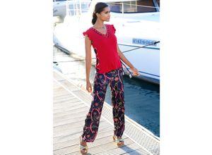 Alba Moda Strandhose mit attraktiver Bundlösung bunt Damen Weite Hosen lang
